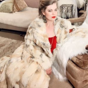 Jackets & Blazers - Rabbit 100% real fur coat vintage 1950s long